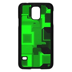 Green Cyber Glow Pattern Samsung Galaxy S5 Case (Black)