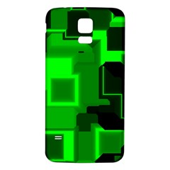 Green Cyber Glow Pattern Samsung Galaxy S5 Back Case (white)