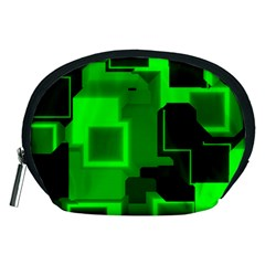 Green Cyber Glow Pattern Accessory Pouches (Medium)