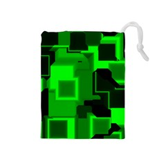 Green Cyber Glow Pattern Drawstring Pouches (medium)