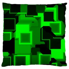 Green Cyber Glow Pattern Large Flano Cushion Case (Two Sides)