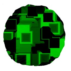 Green Cyber Glow Pattern Large 18  Premium Flano Round Cushions