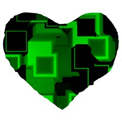 Green Cyber Glow Pattern Large 19  Premium Flano Heart Shape Cushions