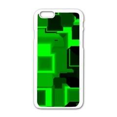 Green Cyber Glow Pattern Apple iPhone 6/6S White Enamel Case