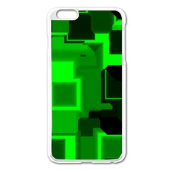 Green Cyber Glow Pattern Apple Iphone 6 Plus/6s Plus Enamel White Case
