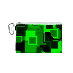 Green Cyber Glow Pattern Canvas Cosmetic Bag (S)