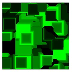 Green Cyber Glow Pattern Large Satin Scarf (square)