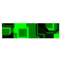 Green Cyber Glow Pattern Satin Scarf (Oblong)