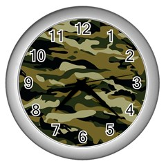 Military Vector Pattern Texture Wall Clocks (silver)