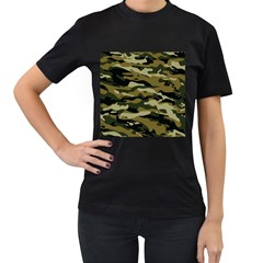Military Vector Pattern Texture Women s T-Shirt (Black) (Two Sided)