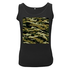 Military Vector Pattern Texture Women s Black Tank Top
