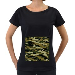 Military Vector Pattern Texture Women s Loose-Fit T-Shirt (Black)