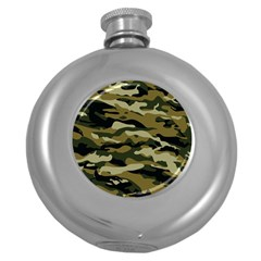 Military Vector Pattern Texture Round Hip Flask (5 Oz)