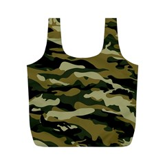 Military Vector Pattern Texture Full Print Recycle Bags (M)