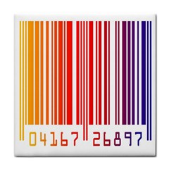 Colorful Gradient Barcode Tile Coasters