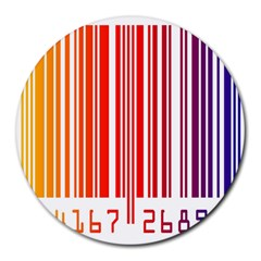 Colorful Gradient Barcode Round Mousepads