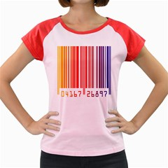 Colorful Gradient Barcode Women s Cap Sleeve T Shirt