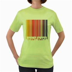Colorful Gradient Barcode Women s Green T-Shirt
