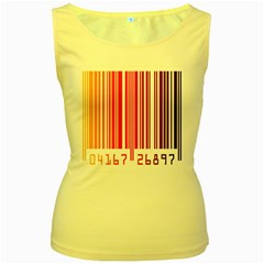 Colorful Gradient Barcode Women s Yellow Tank Top