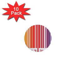 Colorful Gradient Barcode 1  Mini Buttons (10 Pack)