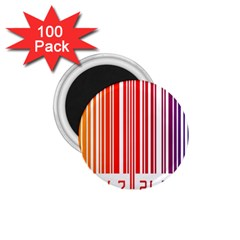 Colorful Gradient Barcode 1 75  Magnets (100 Pack)