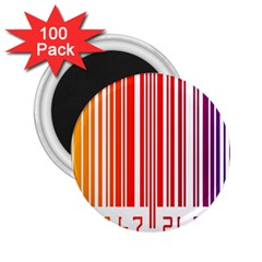 Colorful Gradient Barcode 2 25  Magnets (100 Pack)
