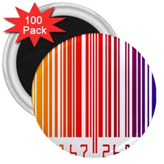Colorful Gradient Barcode 3  Magnets (100 Pack)