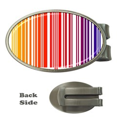 Colorful Gradient Barcode Money Clips (Oval)