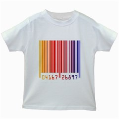 Colorful Gradient Barcode Kids White T-Shirts