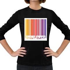 Colorful Gradient Barcode Women s Long Sleeve Dark T-Shirts