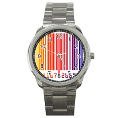 Colorful Gradient Barcode Sport Metal Watch