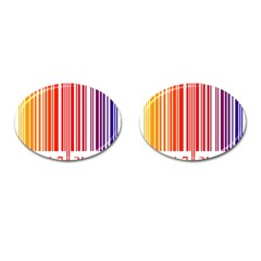 Colorful Gradient Barcode Cufflinks (oval)