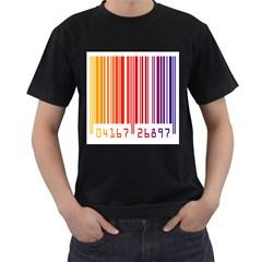 Colorful Gradient Barcode Men s T Shirt (black)