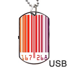 Colorful Gradient Barcode Dog Tag USB Flash (One Side)