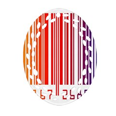 Colorful Gradient Barcode Oval Filigree Ornament (Two Sides)
