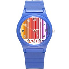 Colorful Gradient Barcode Round Plastic Sport Watch (S)