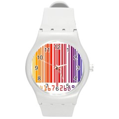 Colorful Gradient Barcode Round Plastic Sport Watch (M)