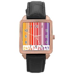Colorful Gradient Barcode Rose Gold Leather Watch