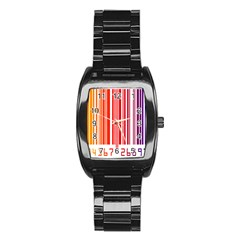 Colorful Gradient Barcode Stainless Steel Barrel Watch