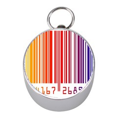 Colorful Gradient Barcode Mini Silver Compasses