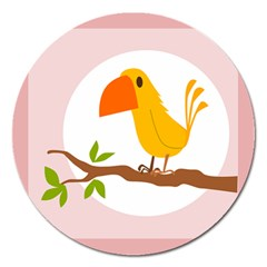 Yellow Bird Tweet Magnet 5  (Round)