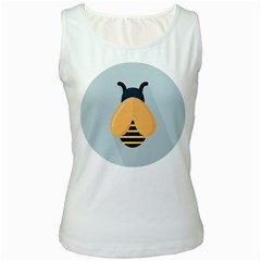 Animals Bee Wasp Black Yellow Fly Women s White Tank Top