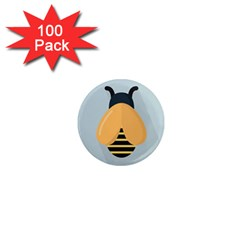 Animals Bee Wasp Black Yellow Fly 1  Mini Magnets (100 Pack)
