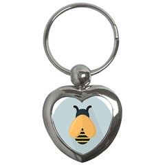Animals Bee Wasp Black Yellow Fly Key Chains (heart)