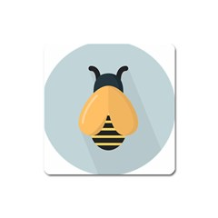 Animals Bee Wasp Black Yellow Fly Square Magnet
