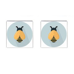 Animals Bee Wasp Black Yellow Fly Cufflinks (square)