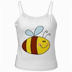 Animals Bee Wasp Smile Face White Spaghetti Tank