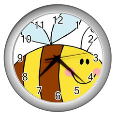 Animals Bee Wasp Smile Face Wall Clocks (silver)