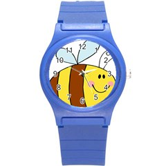 Animals Bee Wasp Smile Face Round Plastic Sport Watch (s)