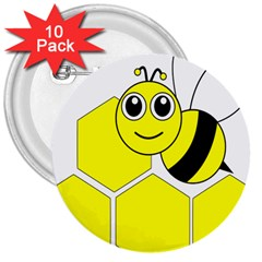 Bee Wasp Yellow 3  Buttons (10 Pack)